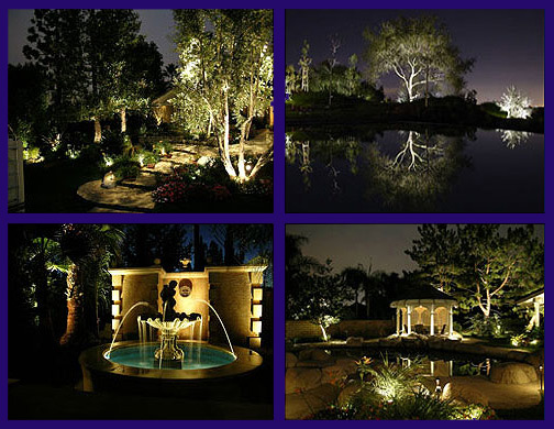 outdoor garden electric lights design installation in